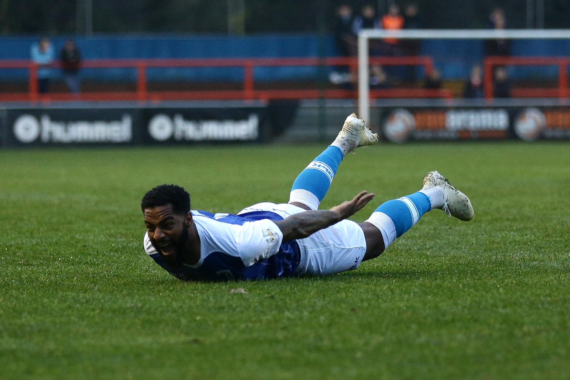 Kemy Agustien celebrates his first goal for the Bluebirds, at Braintree