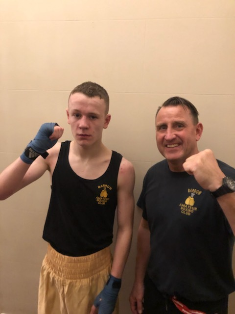 Barrow ABC boxer Euan Turner and coach Jeff Moses