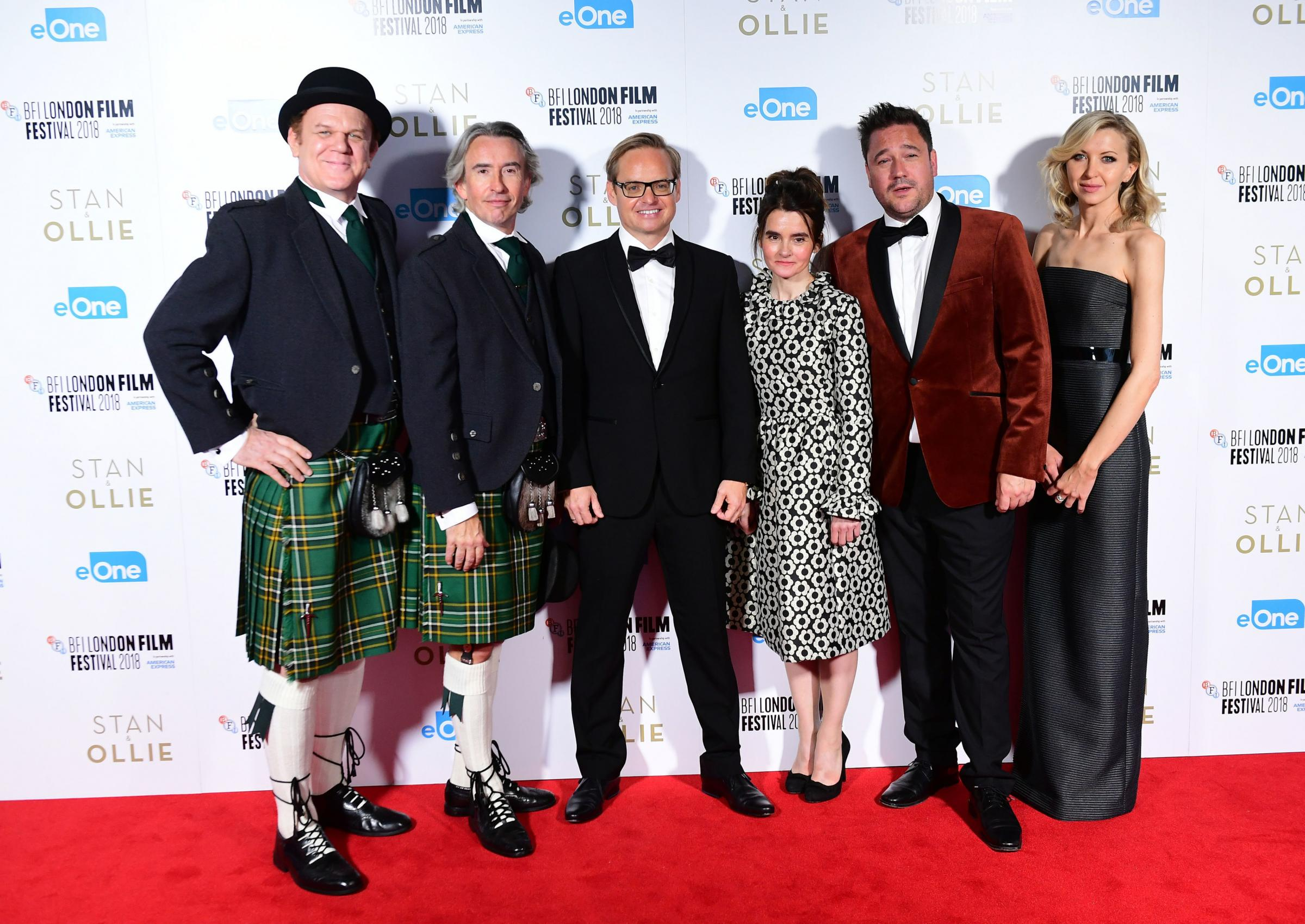 John C. Reilly, Steve Coogan, Jon S.Baird, Shirley Henderson, Rufus Jones and Nina Arianda attending the Stan and Ollie Premiere as part of the BFI London Film Festival at  the Cineworld Cinema in London. PRESS ASSOCIATION Photo. Picture date: Sunday Octo
